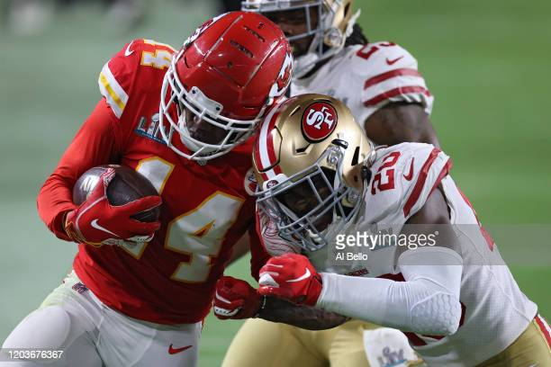 Sammy Watkins of the Kansas City Chiefs is tackled by Jimmie Ward of the San Francisco 49ersSuper Bowl LIV at Hard Rock Stadium on February 02, 2020...
