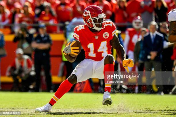 Sammy Watkins of the Kansas City Chiefs puts on the breaks in the open field to make a cut during the second half of the game against the Denver...