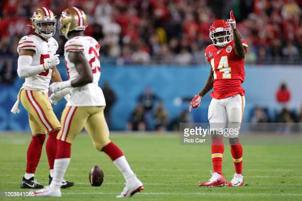 Sammy Watkins of the Kansas City Chiefs reacts against the San Francisco 49ers during the second quarter in Super Bowl LIV at Hard Rock Stadium on...