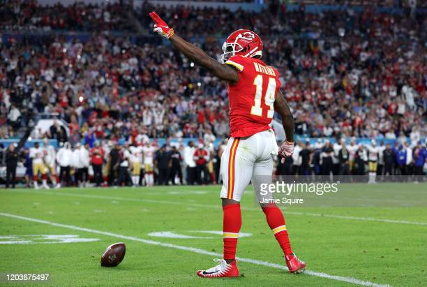 Sammy Watkins of the Kansas City Chiefs reacts against the San Francisco 49ers in Super Bowl LIV at Hard Rock Stadium on February 02, 2020 in Miami,...