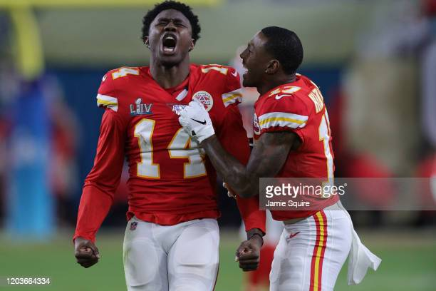 Sammy Watkins of the Kansas City Chiefs reacts during the fourth quarter against the San Francisco 49ers in Super Bowl LIV at Hard Rock Stadium on...