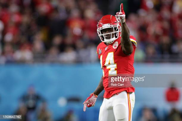 Sammy Watkins of the Kansas City Chiefs reacts in Super Bowl LIV against the San Francisco 49ersat Hard Rock Stadium on February 02, 2020 in Miami,...