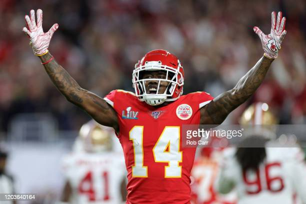 Sammy Watkins of the Kansas City Chiefs reacts in the first quarter in Super Bowl LIV against the San Francisco 49ers at Hard Rock Stadium on...
