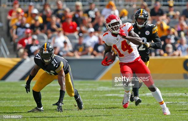 Sammy Watkins of the Kansas City Chiefs runs upfield after a catch in the second half during the game against the Pittsburgh Steelers at Heinz Field...