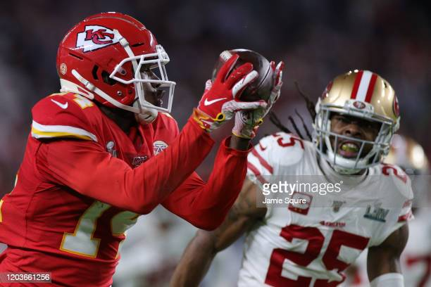 Sammy Watkins of the Kansas City Chiefs runs with the ball after a reception against the San Francisco 49ers during the fourth quarter in Super Bowl...