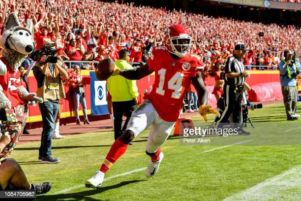 Sammy Watkins of the Kansas City Chiefs turns after scoring a touchdown during the second half against the Denver Broncos at Arrowhead Stadium on...