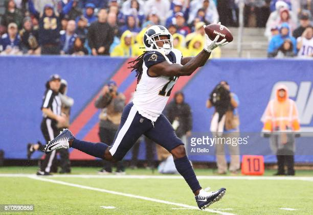 Sammy Watkins of the Los Angeles Rams catches a touchdown against the New York Giants in the second quarter against the New York Giants during their...