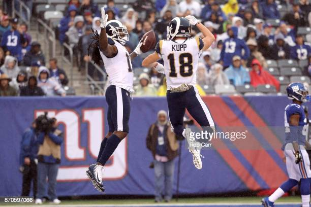 Sammy Watkins of the Los Angeles Rams celebrates scoring a touchdown with Cooper Kupp against the New York Giants in the first half at MetLife...