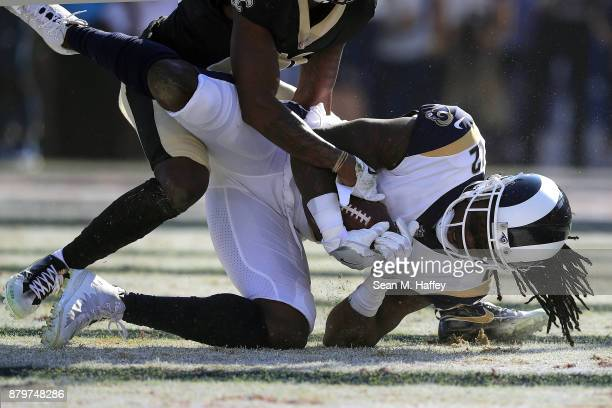 Sammy Watkins of the Los Angeles Rams scores the first touchdown of the game during the first quarter of the game against the New Orleans Saints at...