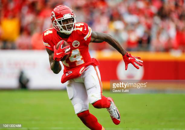 Sammy Watkins wide receiver with the Kansas City Chiefs ran during a 33yard pass catch against the Jacksonville Jaguars at Arrowhead Stadium on...