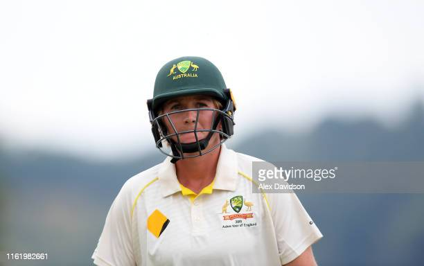 Sammy-Jo Johnson of Australia walks off after being dismissed on during Day Three of the International Friendly match between England Women and...