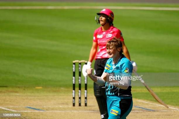 Sammy-Jo Johnson of the Heat celebrates a wicket during the Women's Big Bash League match between the Sydney Sixers and the Brisbane Heatat...