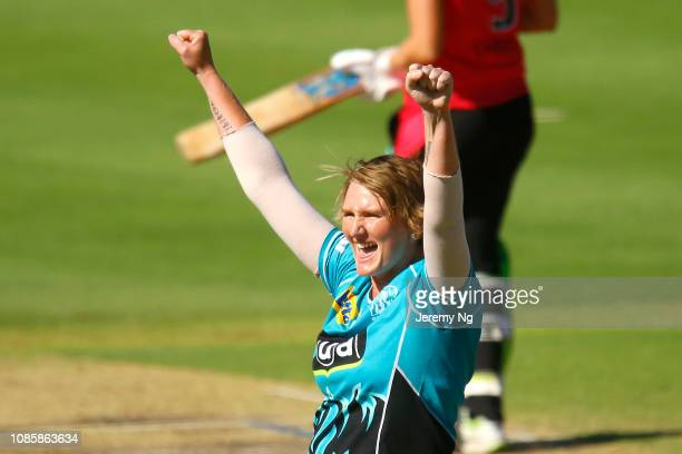 Sammy-Jo Johnson of the Heat celebrates a wicket during the Women's Big Bash League match between the Sydney Sixers and the Brisbane Heat at...