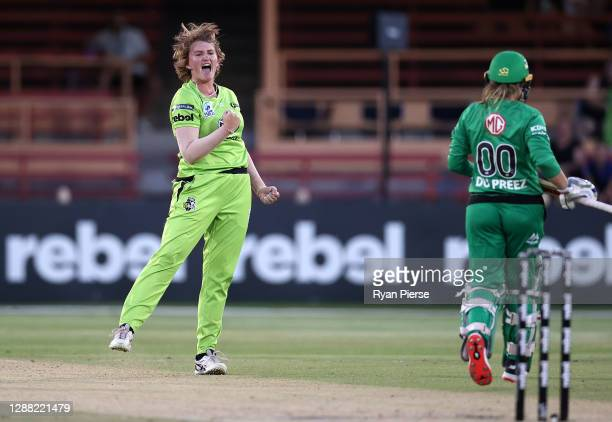 Sammy-Jo Johnson of the Thunder celebrates after taking the wicket of Mignon du Preez of the Stars during the Women's Big Bash League Final between...