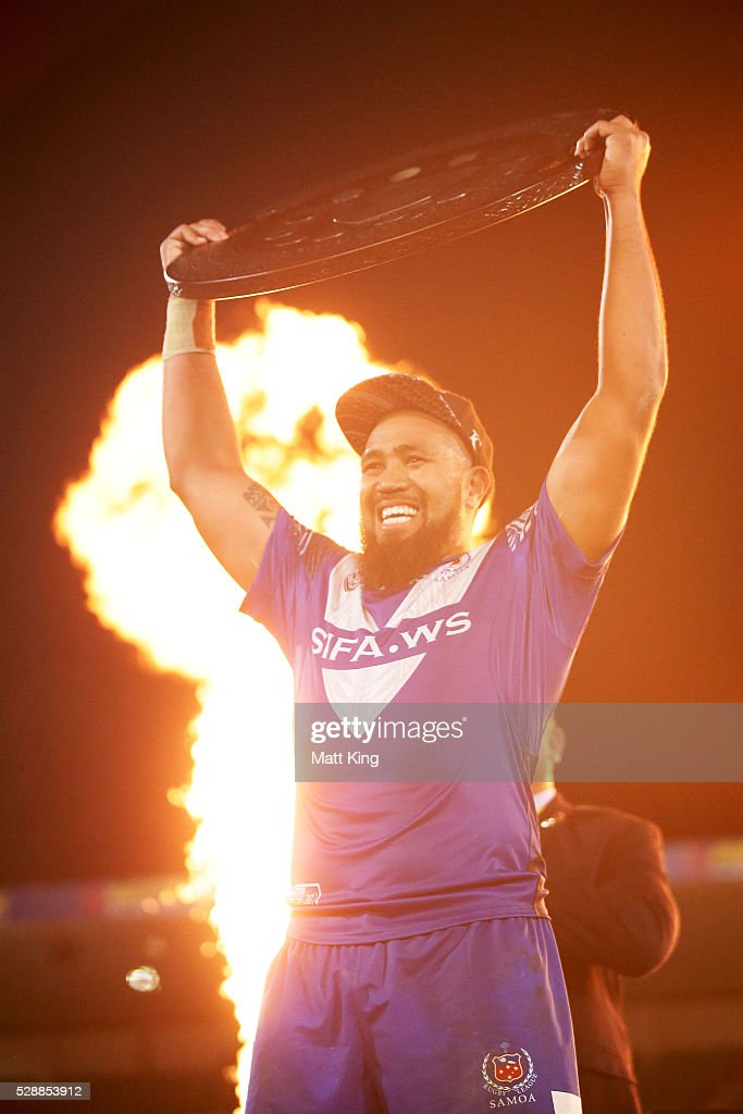 Samoa captain Frank Pritchard celebrates and lifts the Pacific Test trophy after the International Rugby League Test match between Tonga and Samoa at Pirtek Stadium on May 7, 2016 in Sydney, Australia.