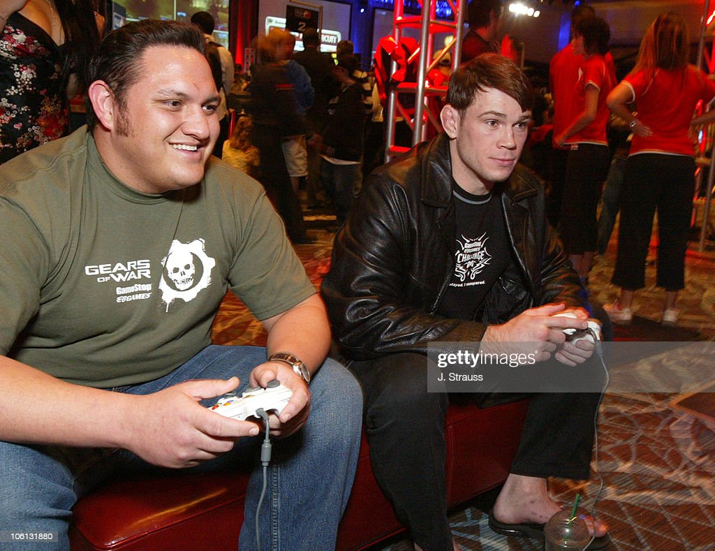 Samoa Joe of TNA and Forrest Griffin of UFC during GameStop's Charity Challenge-Celebrity Match in Las Vegas - November 18, 2006 at Red Rocks Casino in Las Vegas, Nevada, United States.
