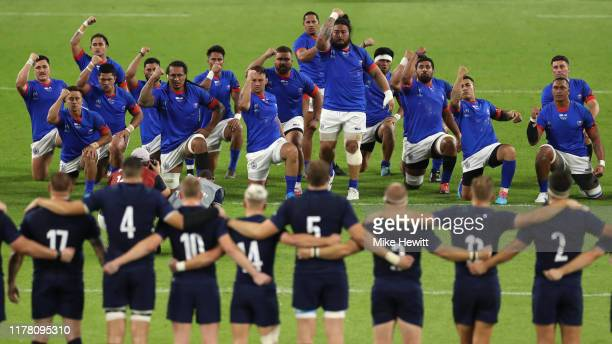 Samoa perform the Siva Tau war dance ahead of the Rugby World Cup 2019 Group A game between Scotland and Samoa at Kobe Misaki Stadium on September...