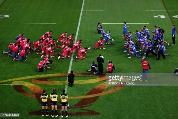Samoa perform their Siva Tau as Tonga perform their Sipi Tau during the 2017 Rugby League World Cup match between Samoa and Tonga at Waikato Stadium...