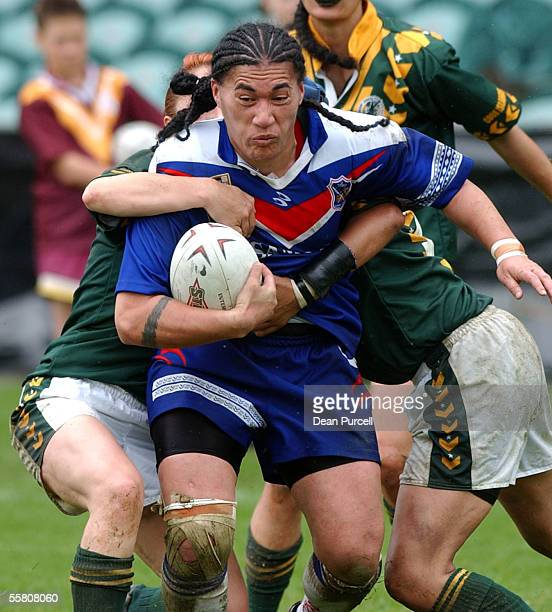 Samoa player Te'evahle Lefale in action during the Woman's Rugby League World Cup Plate Final for 3rd and 4th between Samoa and the Cook Islands...