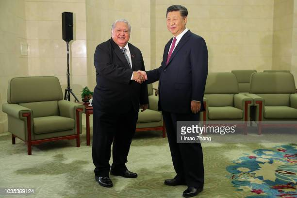 President of Serbian Aleksandar Vucic shakes hands with Chinese President Xi Jinping at The Great Hall Of The People on September 18 2018 in Beijing...