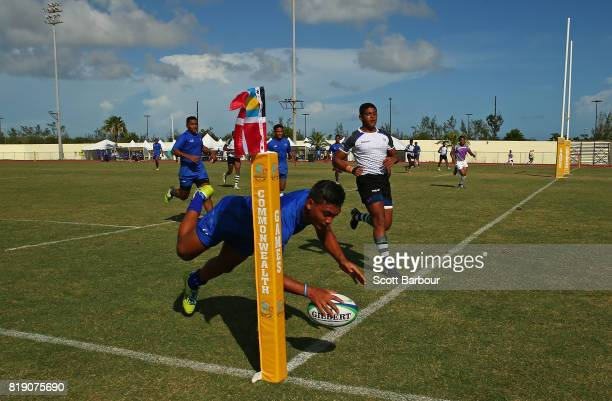 Samoa scores a try during the match between Samoa and Sri Lanka in the Rugby Sevens on day 2 of the 2017 Youth Commonwealth Games at QE Sports Centre...