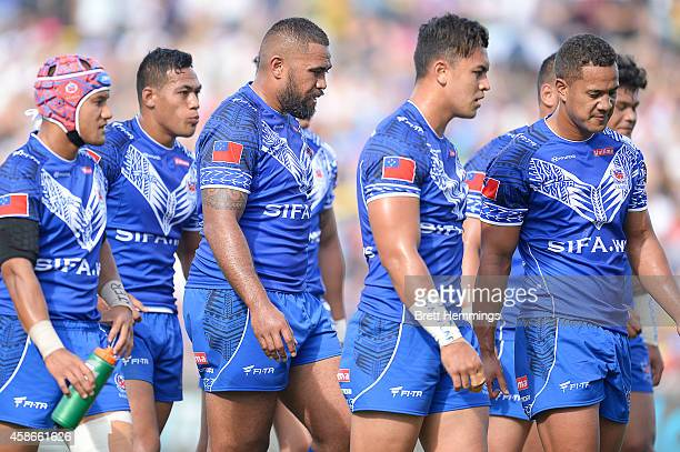 Samoa shows their dejection during the Four Nations match between the Australian Kangaroos and Samoa at WIN Stadium on November 9 2014 in Wollongong...
