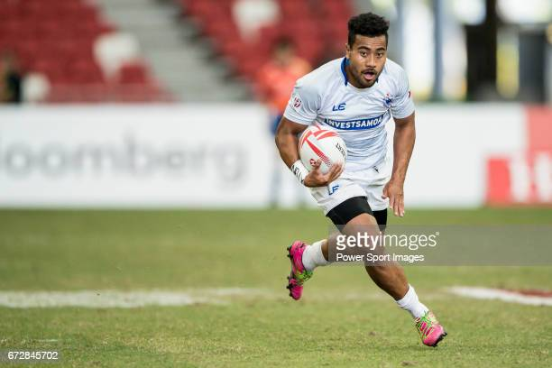 Samoa Toloa in action during the match Wales vs Samoa Day 2 of the HSBC Singapore Rugby Sevens as part of the World Rugby HSBC World Rugby Sevens...
