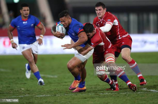 Samoa wing Alapati Leiua makes a break during the Rugby World Cup 2019 Group A game between Russia and Samoa at Kumagaya Rugby Stadium on September...