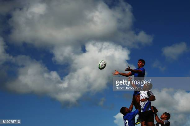 Samoa wins a lineout during the match between Samoa and Sri Lanka in the Rugby Sevens on day 2 of the 2017 Youth Commonwealth Games at QE Sports...