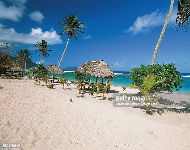 Samoan Beach with traditional style fales by the water