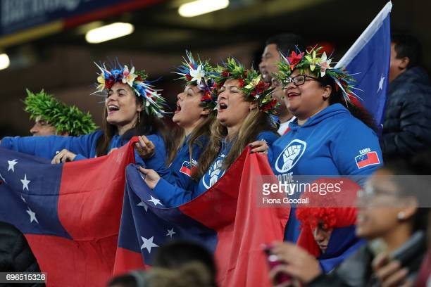 Samoan fans during the International Test match between the New Zealand All Blacks and Samoa at Eden Park on June 16 2017 in Auckland New Zealand