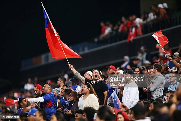 Samoan fans support their team during the International Rugby League Test match between Tonga and Samoa at Pirtek Stadium on May 7 2016 in Sydney...