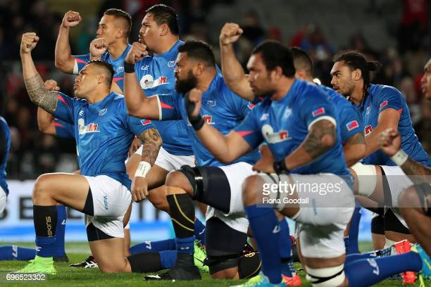 Samoan haka during the International Test match between the New Zealand All Blacks and Samoa at Eden Park on June 16 2017 in Auckland New Zealand