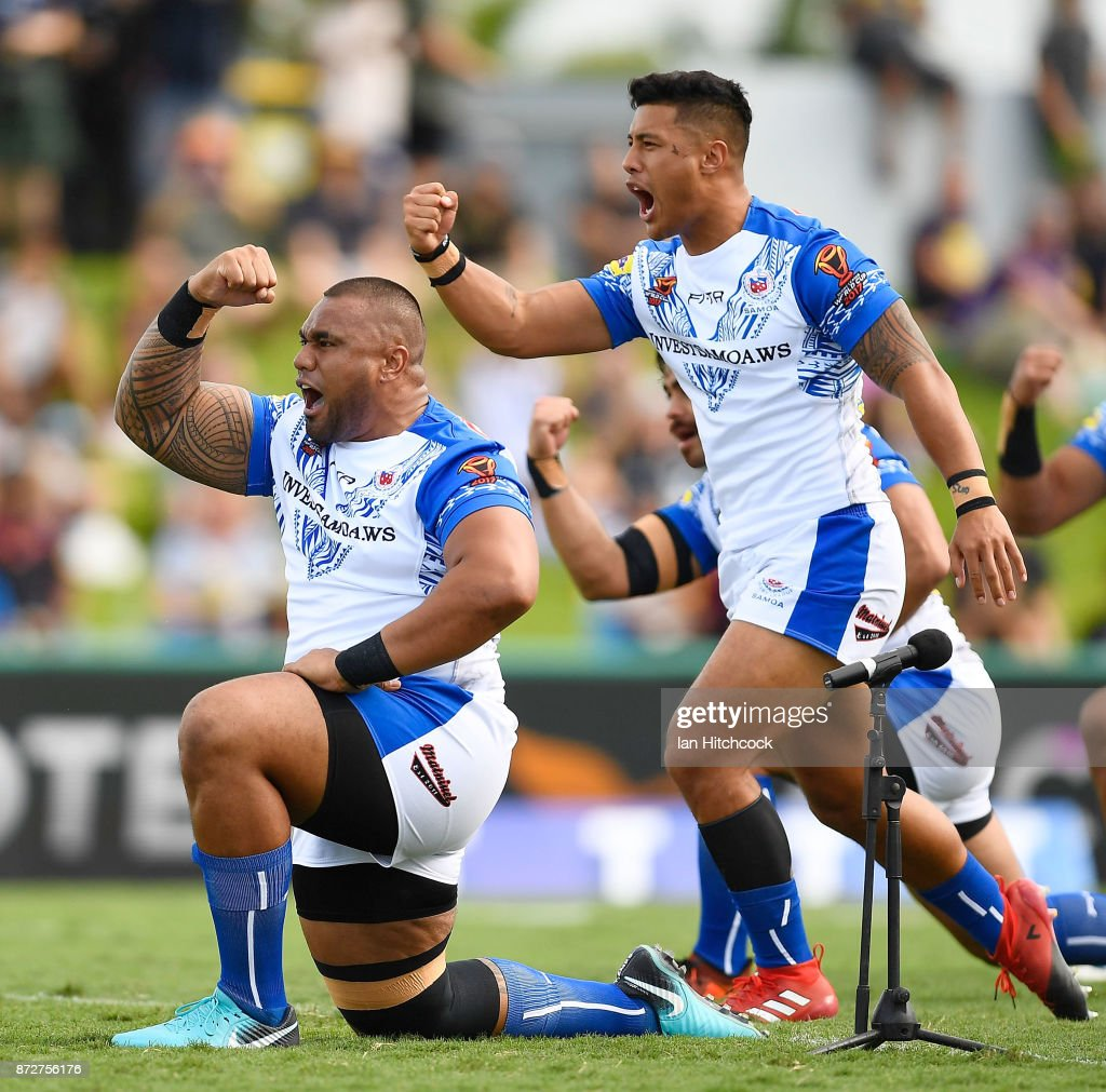 Samoan players do the 'Siva Tau' Cultural Challenge before the start the 2017 Rugby League World Cup match between Samoa and Scotland at Barlow Park on November 11, 2017 in Cairns, Australia.