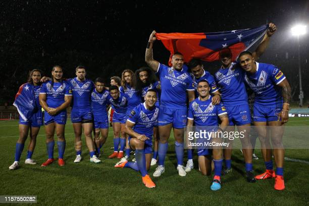 Samoan players during the Pacific International Test Match between Samoa and Papua New Guinea at Leichhardt Oval on June 22, 2019 in Sydney,...