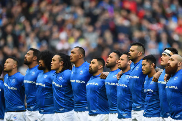 Samoan players sing the national anthem before the autumn