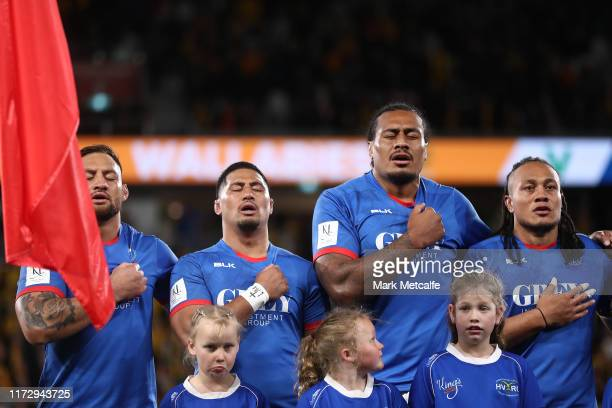 Samoan players sing their national anthem during the International Test match between the Australian Wallabies and Manu Samoa at Bankwest Stadium on...