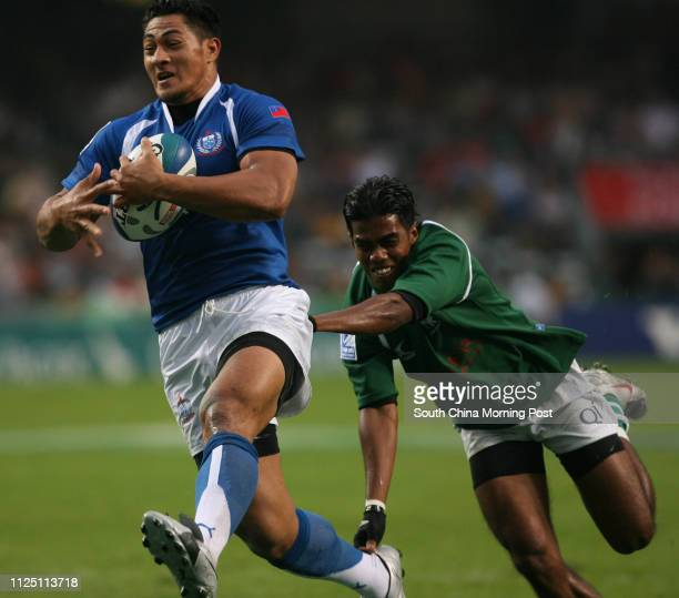 ONLY*** Samoa's Alafoti Fa'osiliva in action during Samoa vs Sri Lanka at the first day of the Hong Kong Rugby Sevens Hong Kong Stadium 28 MARCH 2008