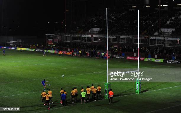 Samoa's Anthony Milford scores a conversion during the 2013 World Cup match at Craven Park Hull