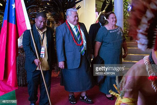 Samoa's Prime Minister Tuilaepa Aiono Sailele Malielegaoi arrives for the official opening of the 46th Pacific Islands Forum in Port Moresby on...