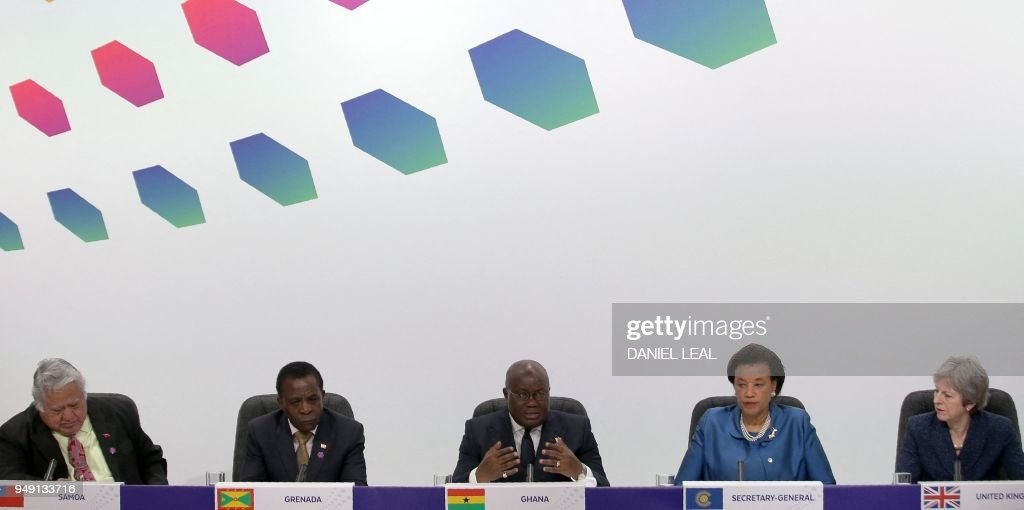 Samoa's Prime Minister Tuilaepa Aiono Sailele Malielegaoi, Grenada's Prime Minister Keith Mitchell, Ghana's President Nana Akufo-Addo, Commonwealth Secretary-General Patricia Scotland and Britain's Prime Minister Theresa May attend the closing press conference of the Commonwealth Heads of Government Meeting (CHOGM), at Marlborough House in London on April 20, 2018.