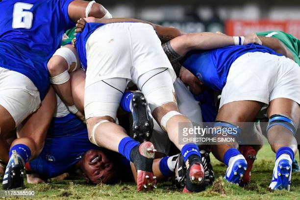 Samoa's prop Jordan Lay is seen during a scrum during the Japan 2019 Rugby World Cup Pool A match between Ireland and Samoa at the Fukuoka...