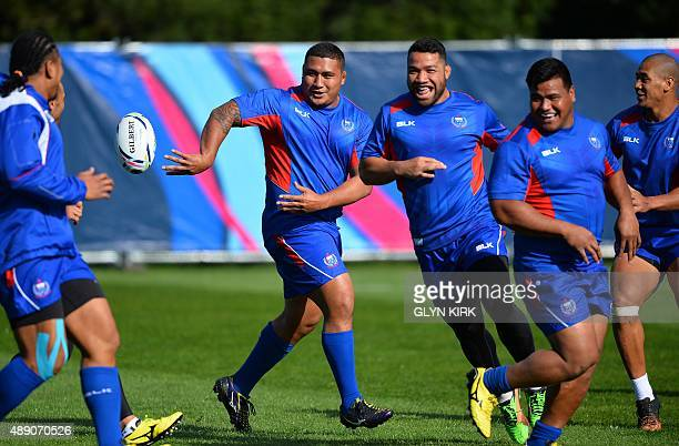 Samoa's Sakaria Taulafo takes part in a training session at Brighton University in Brighton on September 19 during the 2015 Rugby Union World Cup USE