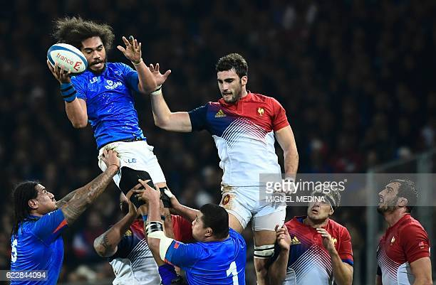 Samoa's second row Chris Vui catches the ball in a line out during the friendly rugby test match between France and Samoa at the Stadium Municipal in...