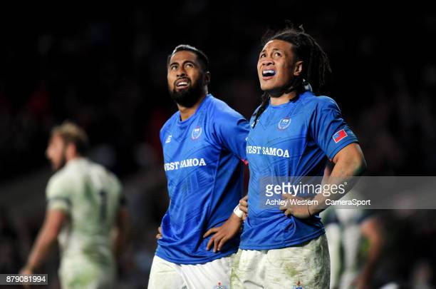 Samoa's TJ Ioane and Ahsee Tuala dejected as Elliot Daly scores his sides fourth try during the 2017 Old Mutual Wealth Series Autumn International...