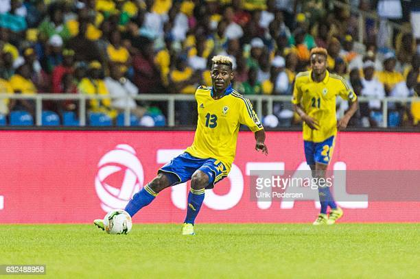 Samon Mbingui of Gabon during the African Nations Cup match between Cameroon and Gabon at Stade de L'Amitie on January 22, 2017 in Libreville, Gabon.