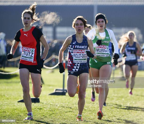 Samorin Slovakia 10 December 2017 Bethanie Murray of Ireland right competing in the U23 Women's event during the European Cross Country Championships...