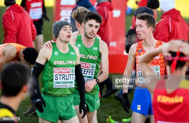 Samorin Slovakia 10 December 2017 Eoin Strutt left and Tom O'Keeffe of Ireland following the U23 Men's event during the European Cross Country...