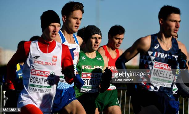 Samorin Slovakia 10 December 2017 Eoin Strutt of Ireland centre competing in the U23 Men's event during the European Cross Country Championships 2017...