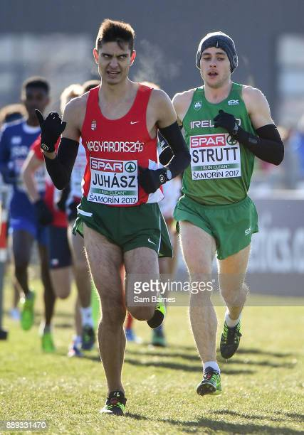 Samorin Slovakia 10 December 2017 Eoin Strutt of Ireland right competing in the U23 Men's event during the European Cross Country Championships 2017...